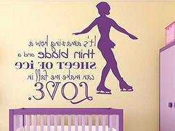 "Design with Vinyl 12"" x 18"" Purple Ice Skating Quote Wall De"