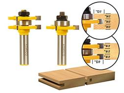 Yonico 15221 Matched Tongue and Groove Router Bit Set 12-Inc