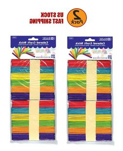 2 Pack Colored Craft Stick Assorted Colored Best for Craft,
