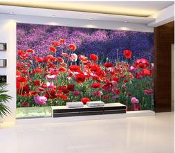 3D Blooming wildflowers Wall Paper Print Wall Decal Deco Ind