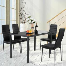 5 Piece Kitchen Dining Set Glass Metal Table and 4 Chairs Br