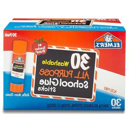 All Purpose School Glue Sticks, Washable, 30 Pack, 0.24-ounc