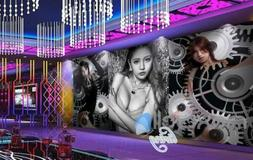 Graphic Art Design With Gears And Asian Girls Art Wall Mural