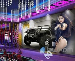 Graphic Design Poster With Jeep And Asian Girl Holding A Pis