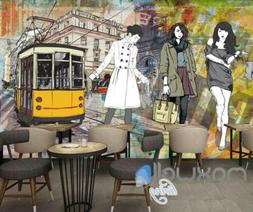 Graphic Design With 3 Fashion Women And Old Tram Art Wall Mu