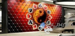 Graphic Design With Fire Yin Yang With Playing Card Symbols