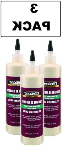 3 PACK Titebond 2104 Tongue and Groove Glue Bottle, 16 oz