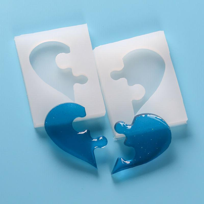Silicone Puzzle Heart Resin Mold Keychain Mold