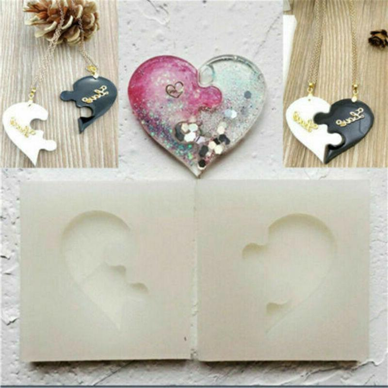 silicone molds puzzle heart resin mould dropping